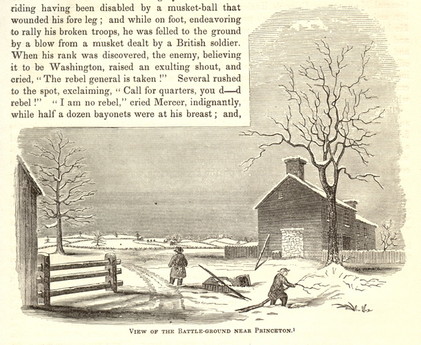 1849 engraving of Princeton Battlefield's Thomas Clarke House